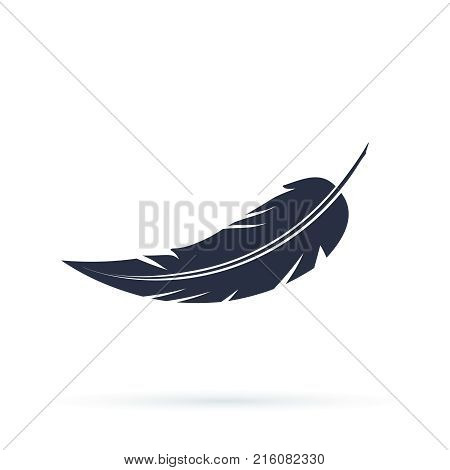 Feather vector icon isolated on white background. Vector illustration in a flat style Silhouettes of dark feather as element for design.