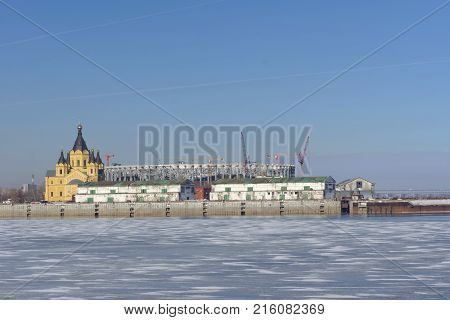 Nizhny Novgorod, Russia. - March 14.2017. The Cathedral Of Alexander Nevsky And The Construction Of