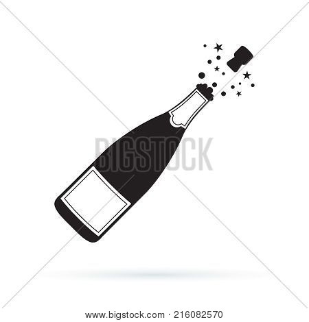 Illustration of champagne bottle explosion icon. Vector symbol illustration isolated on white background. Open Champagne bottle holiday toast cork jumping out with blow