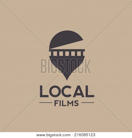 Vector logo combination of a film and pin locator, local film logo, Unique pin and film logo design template