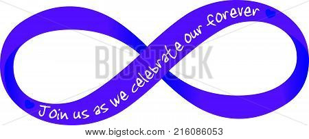 Purple eternity symbol with wedding invitation written on it