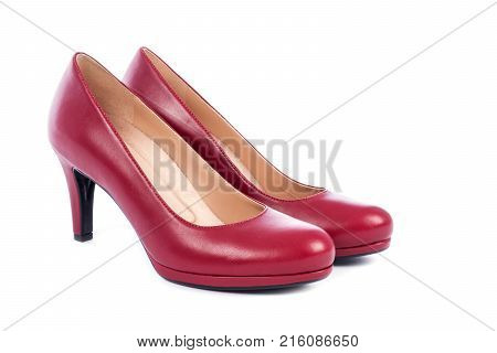 Women's Red Leather Pump Shoes Isolated on White