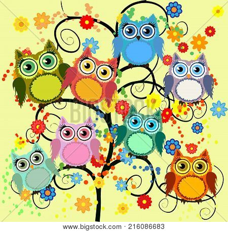 Owl-day. Owl Painted In The Colors Of The Day Sky With Clouds, Sun, Birds