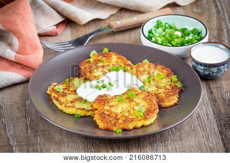 Potato Pancakes With Sour Cream, Ukrainian Pellet, A Traditional Dish, Tatsy Food
