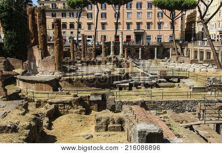 Largo di Torre Argentina in Rome Italy
