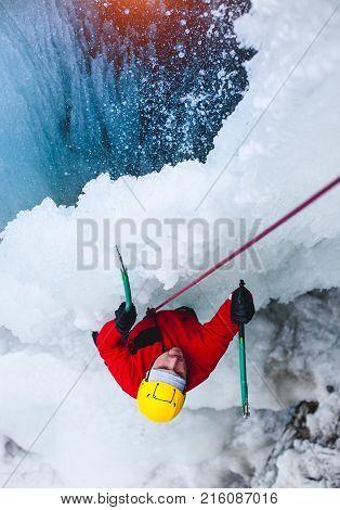 Climber Climbs On The Ice