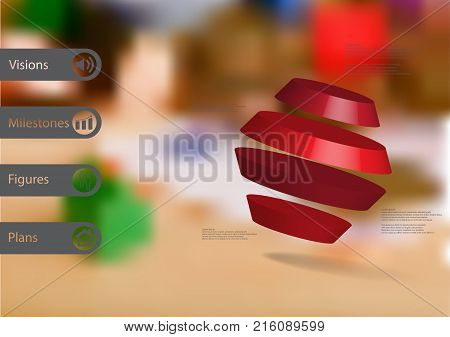 3D illustration infographic template with motif of rotated hexagon divided to four red parts askew arranged with simple sign and sample text on side in bars. Blurred photo is used as background.