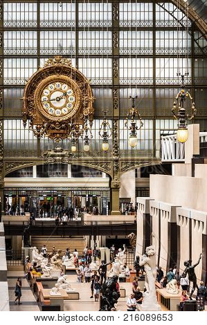Paris France - Jule 05 2017: Main hall of the Orsay Museum. The Musee d'Orsay is a museum in Paris on the left bank of the Seine. Musee d'Orsay has the largest collection of impressionist paintings in the world.