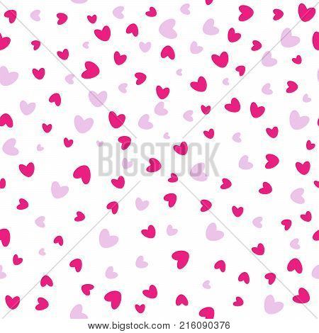 Seamless love pattern. Background of falling red hearts. Valentines confetti falling on white background. Vector illustration
