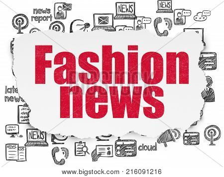 News concept: Painted red text Fashion News on Torn Paper background with  Hand Drawn News Icons