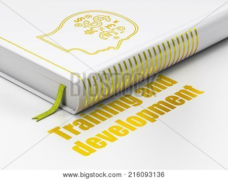 Education concept: closed book with Gold Head With Finance Symbol icon and text Training and Development on floor, white background, 3D rendering