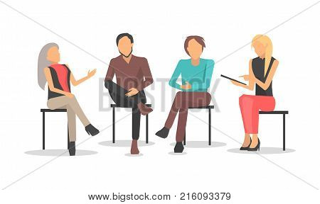 People at business training sit on chairs, discuss issues and raise qualification isolated cartoon flat vector illustration on white background.
