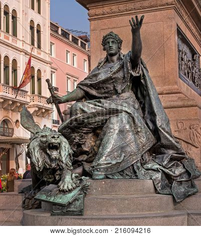 Venice, Italy - October 13, 2017: Monument to Victor Emmanuel II - Monumento Nazionale Vittorio Emanuele II. Fragment of the monument.