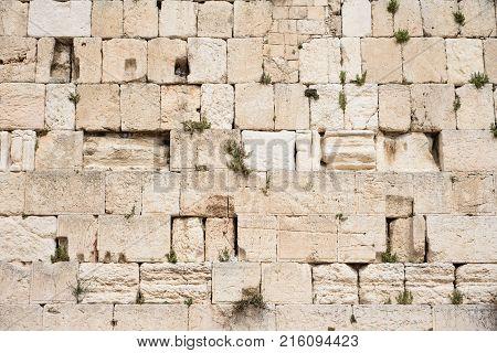 Wailing Wall (kotel Western Wall) Useful For Background. Jerusalem Israel.