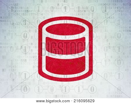 Database concept: Painted red Database icon on Digital Data Paper background with Scheme Of Binary Code