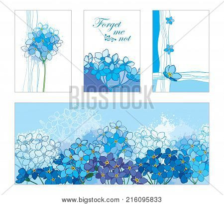 Vector card with outline Forget me not or Myosotis bunch in pastel blue. Floral templates in blue with contour Forget-me-not flower for spring design, romantic decor, greeting, postcard, invitation.