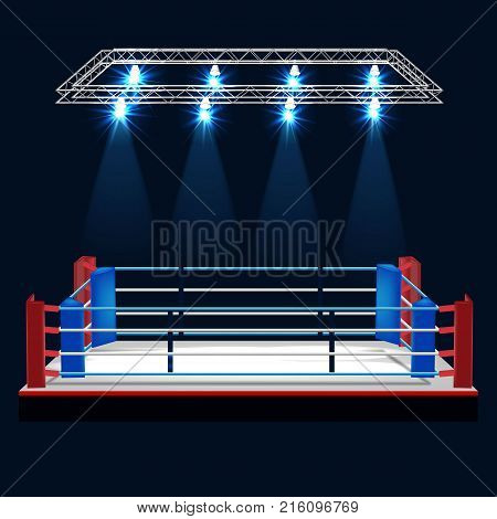 Boxing ring and floodlights vector design, ESP 10