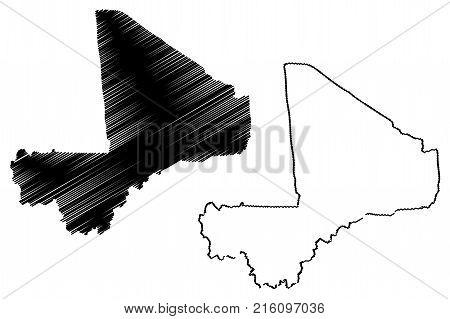 Mali map vector illustration , scribble sketch Republic of Mali