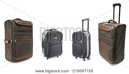 Set of large suitcases for travel isolated on white background.
