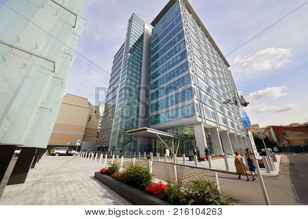 MOSCOW, RUSSIA - SEP 20, 2017: Building of Ducat Place III - one of the most famous and high-quality office centres in Moscow. Building has 33,493 sqm, most of which are occupied by office space.