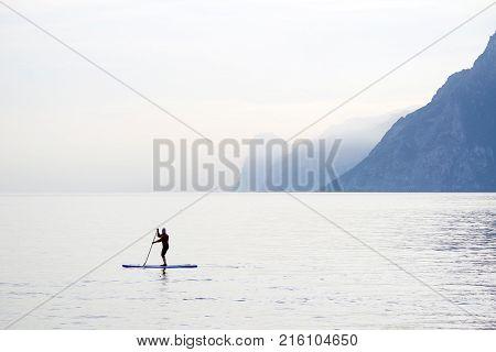 Paddling at Garda Lake in Trentino, Alto Adige, Italy