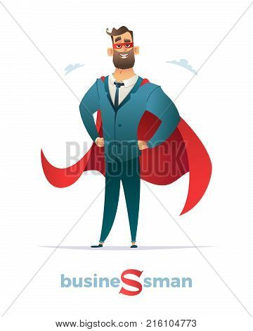 Businessman In Red Cloak Or Cape And Eye Mask, Standing In A Superhero Pose.