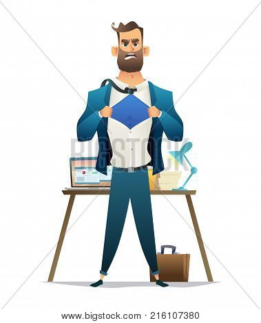 Young Businessman Acting Like A Super Hero And Tearing His Shirt On Workplace