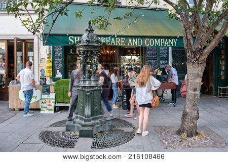 PARIS,FRANCE - AUGUST 1,2017 : The famous Shakespeare and Company bookstore in Paris
