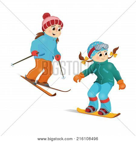 ffded94125 Two girls in warm clothes snowboarding and skiing