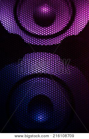 Loudspeaker. Colorful loudspeaker. Technology background. Abstract music concept.