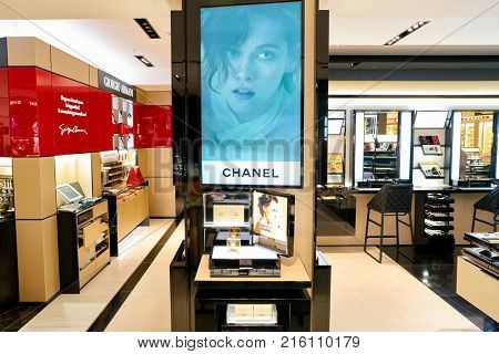 ROME, ITALY - CIRCA NOVEMBER, 2017: bottle of Chanel fragrance sit on display at a second flagship store of Rinascente in Rome.