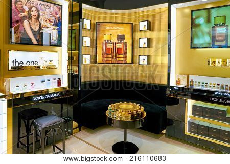 ROME, ITALY - CIRCA NOVEMBER, 2017: Dolce & Gabbana fragrance on display at a second flagship store of Rinascente in Rome. Dolce & Gabbana is an Italian luxury fashion house
