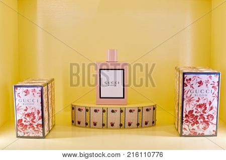 ROME, ITALY - CIRCA NOVEMBER, 2017: a bottle of Gucci fragrance sit on display at a second flagship store of Rinascente in Rome.