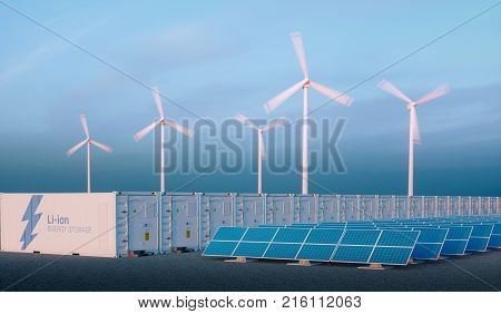 Battery Energy Storage Concept In Nice Morning Light. Hydrogen Energy Storage With Renewable Energy