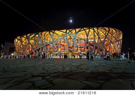 Olympic Birds Nest Stadium And Moon At Night
