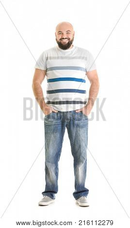 Overweight young man on white background