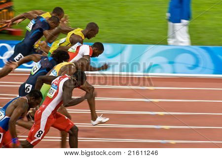 Athletes In Men's 100 Meter Sprint