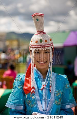 Mongolian Woman In Traditional Dress