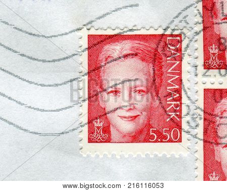 GOMEL, BELARUS, 29 NOVEMBER 2017, Stamp printed in Denmark shows image of the Margrethe II is the Queen of Denmark, circa 2017.