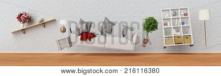 Living room sofa and furniture fly as panorama (3D Rendering)