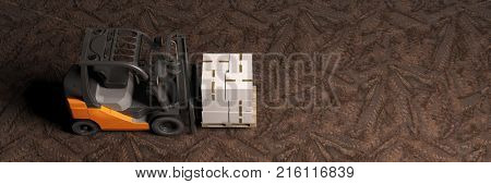 Top view of forklift transporting package for delivery as panorama (3D Rendering)