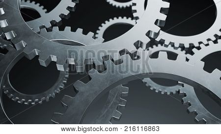 Gears from cogwheel transmission machine as teamwork concept (3D Rendering)