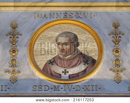 ROME, ITALY - SEPTEMBER 05: The icon of Pope Antipope John XVI, born John Filagatto was Pope from 997 to 998, the basilica of Saint Paul Outside the Walls, Rome, Italy on September 05, 2016.