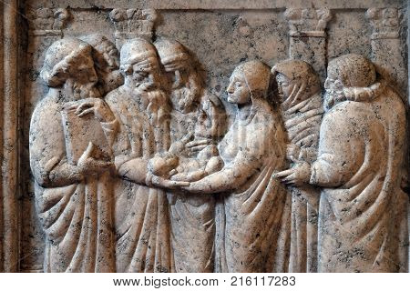 ZAGREB, CROATIA - AUGUST 19: The Presentation of Jesus in the Temple by Ivan Mestrovic in the church of St. Mark in Zagreb, Croatia on August 19, 2017.