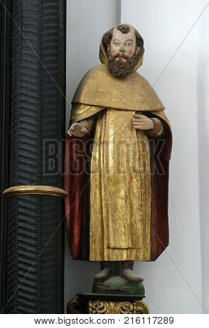 LEPOGLAVA, CROATIA - MARCH 17: Saint Paul the Hermit statue on altar of Holy Spirit in the church of Immaculate Conception in Lepoglava, Croatia on March 17, 2017.