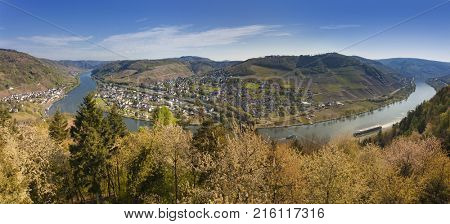 Panoramic view of the Moselle valley with villages Alf and Bullay