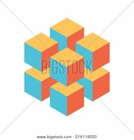 Geometric cube of 8 smaller isometric cubes. Abstract design element. Science or construction concept. 3D vector object.