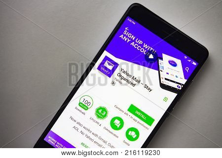 Berlin Germany - November 19 2017: Yahoo mail application on screen modern smartphone in Play Store. Yahoo mail app