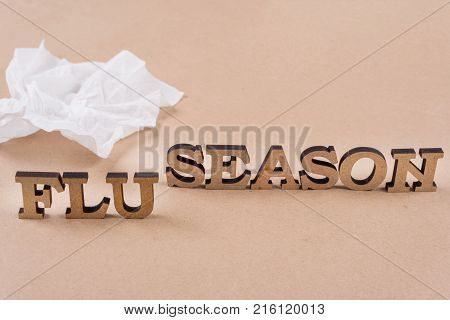 Word FLY SEASON abstract wooden letters, background vintage craft paper, napkin