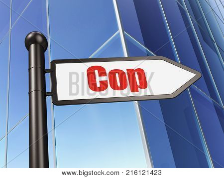Law concept: sign Cop on Building background, 3D rendering